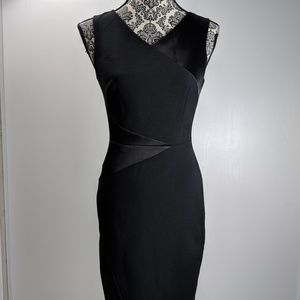 WHBM dress lined vneck bodycon sleeveless sz 0